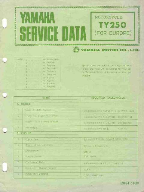 Yamaha TY 250 service data